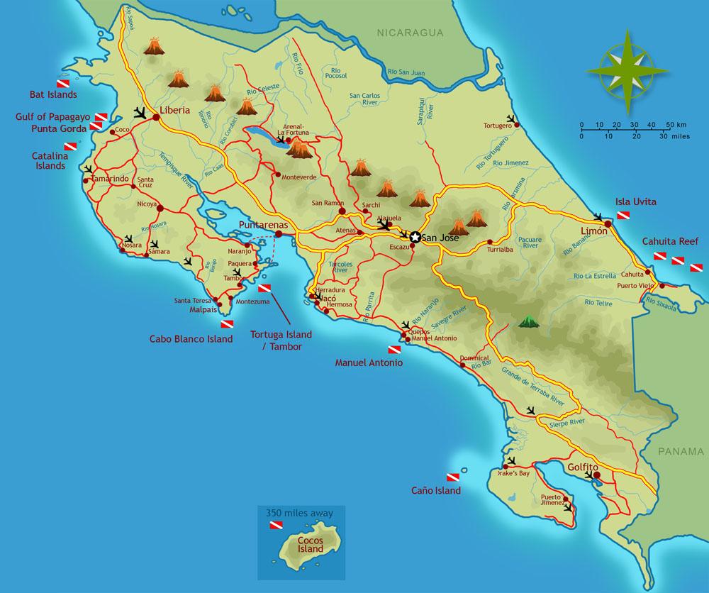 costa-rica-scuba-diving-map